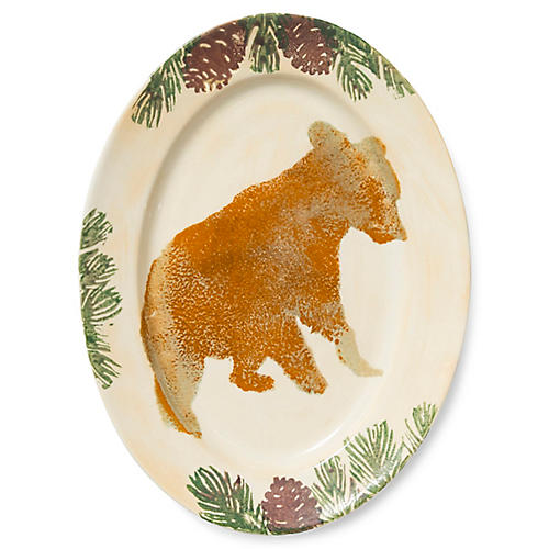 Foresta Bear Medium Oval Platter, White/Multi