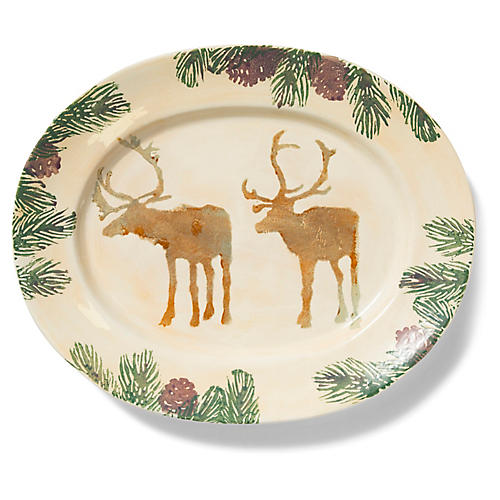 Foresta Moose Large Oval Platter, Ivory/Multi