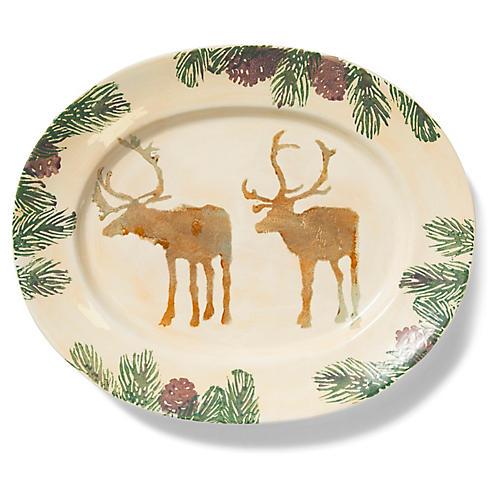 Foresta Moose Large Oval Platter, Ivory/Multi
