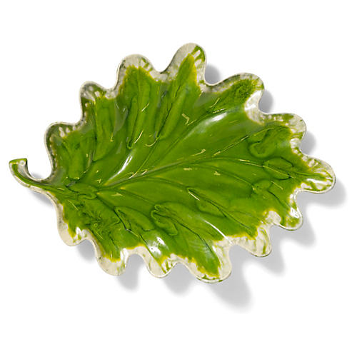 Reactive Leaf Oak Plate, Green