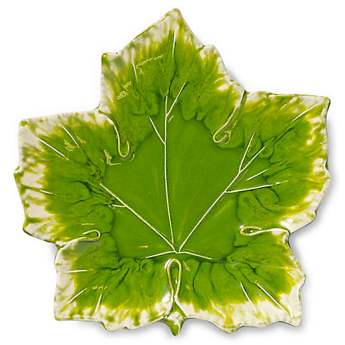 Reactive Leaf Maple Plate, Green
