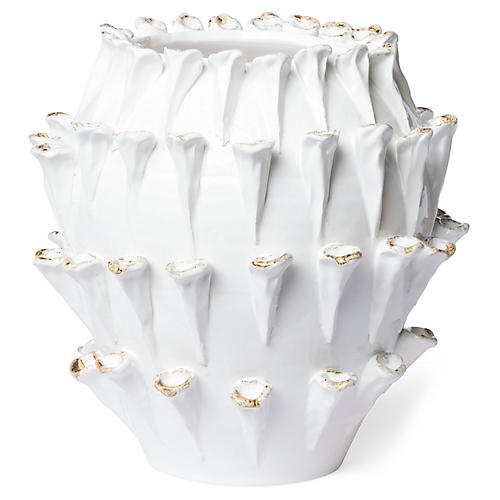 """14"""" Artistic Edges Tall Outdoor Cachepot, White"""
