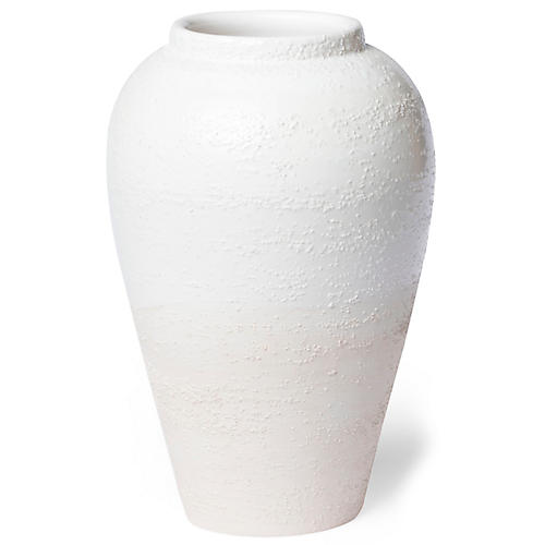 "14"" Tuscan Texture Outdoor Planter, Cream"