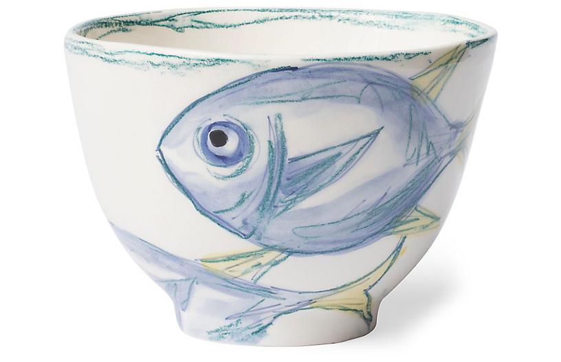 Pescatore Deep Bowl, White/Aqua