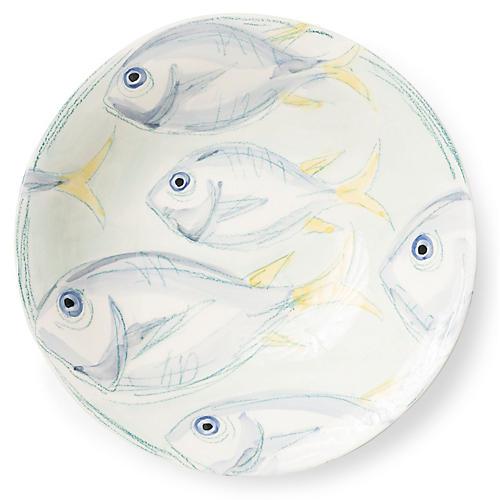 Pescatore Serving Bowl, White/Aqua