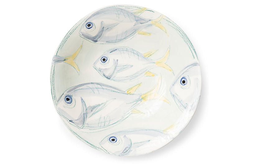 Pescatore Serving Bowl, White/Aqua