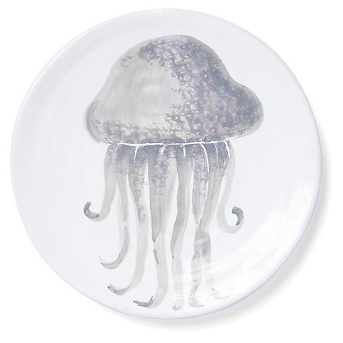 Marina Jellyfish Salad Plate, Ivory/Gray