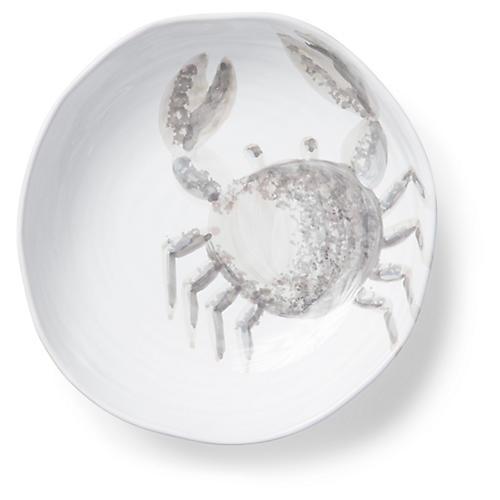 Marina Crab Pasta Bowl, Ivory/Gray