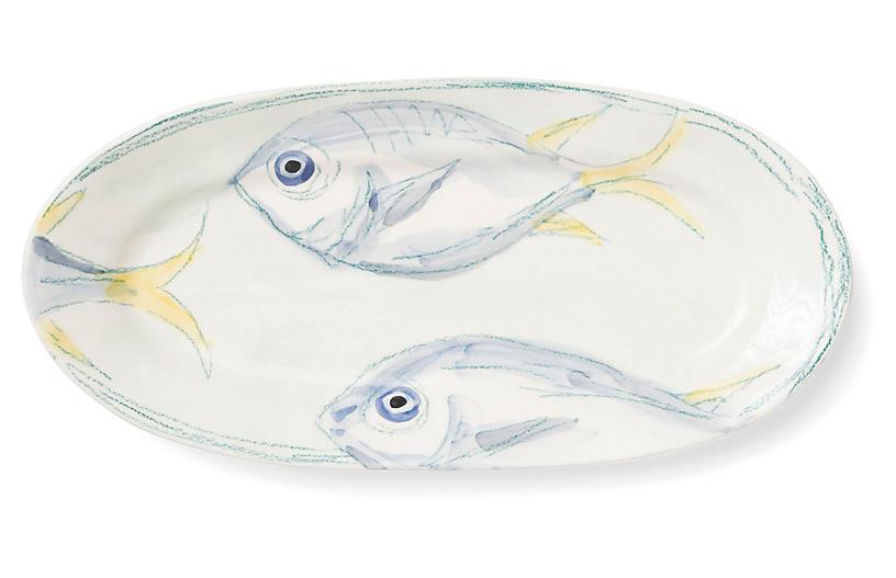 Pescatore Oval Platter, White/Aqua