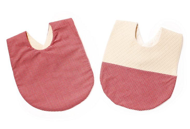 Red Gingham Bib Set