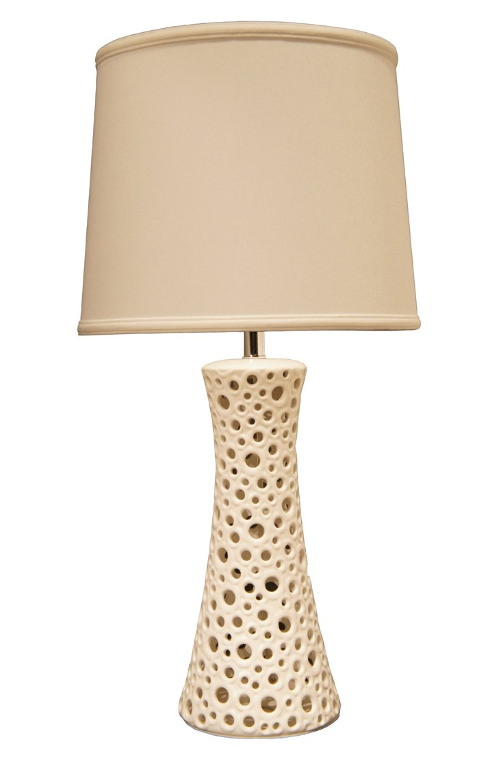 Hourglass Table Lamp, White