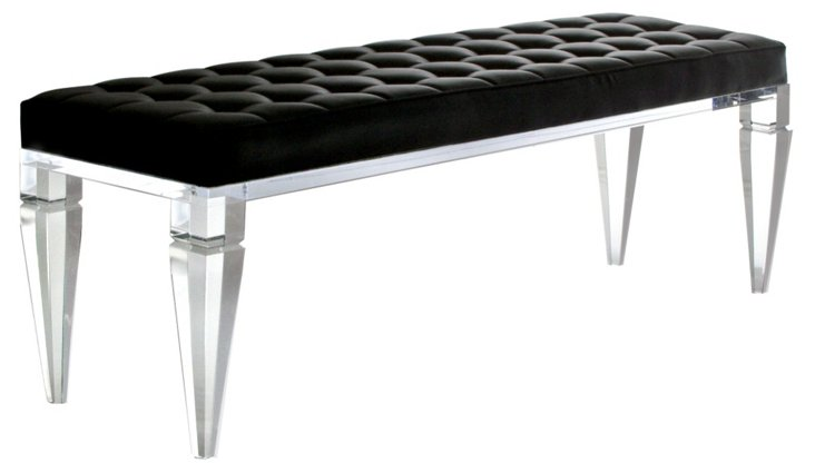 "Stella 60"" TUfted Bench, Clear/Black"