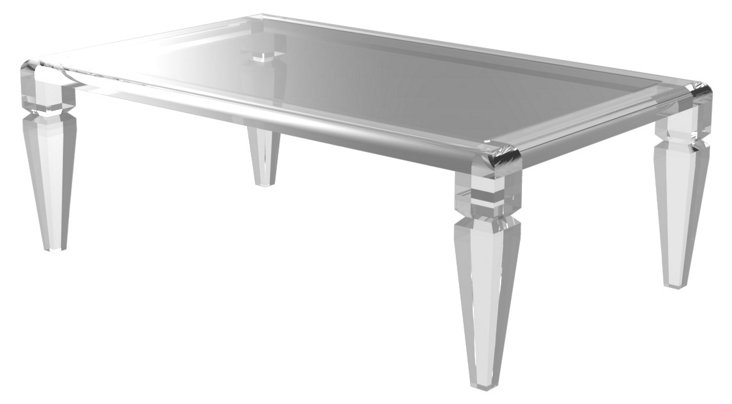 "Kara 46"" Glass-Top Cocktail Table, Clear"