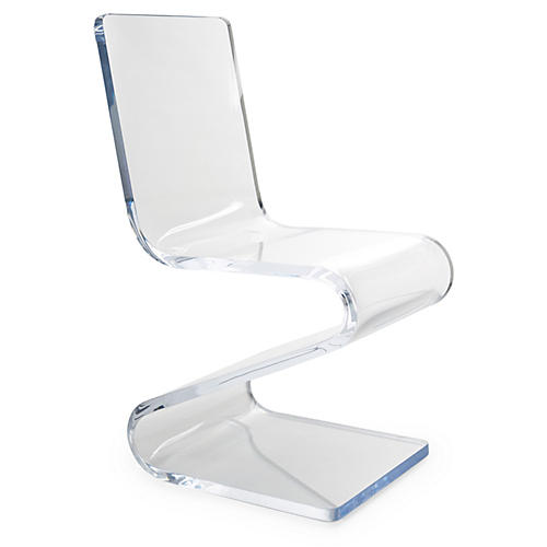 Gage Acrylic Side Z-Chair, Clear