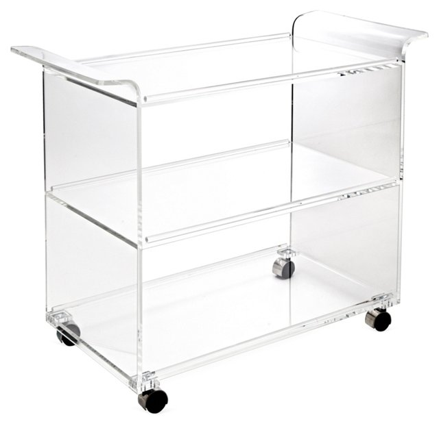 Hostess Acrylic Serving Cart, Clear