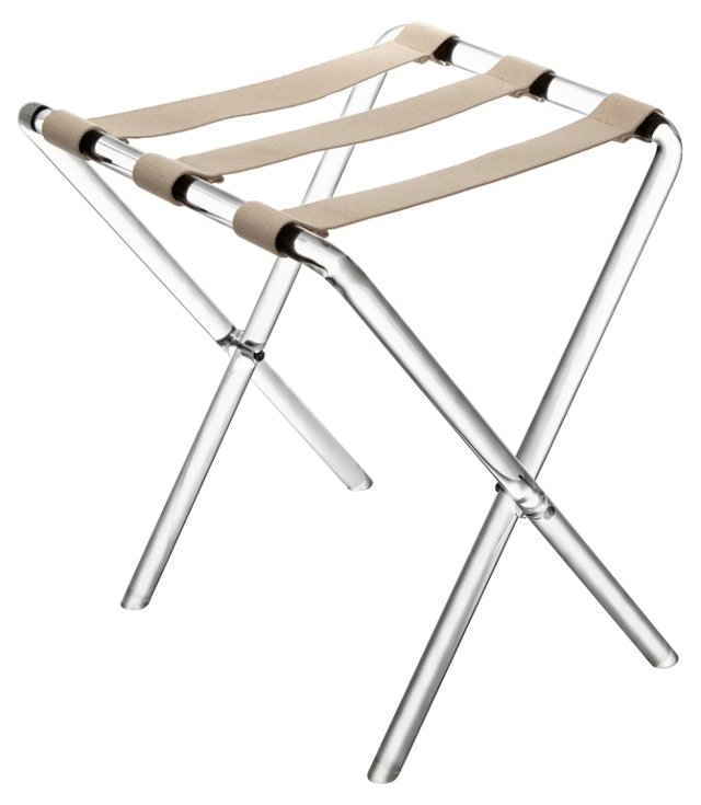 Lou Acrylic Luggage Rack, Beige/Clear