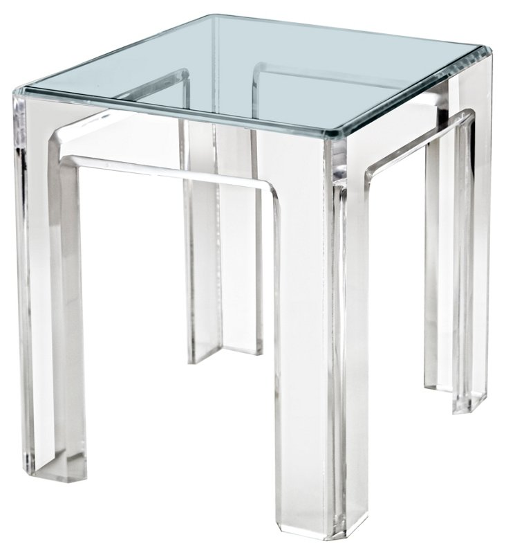 """Parsons 26"""" Side Table, Clear"""