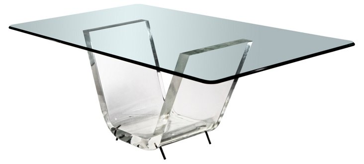 "40"" x 20"" Thick V Dining Table, Clear"