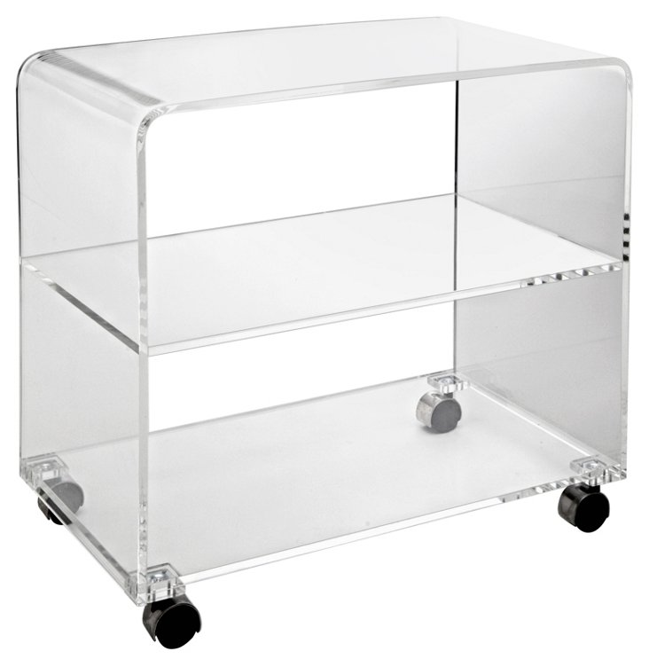 """Waterfall 28"""" TV Table, Clear"""