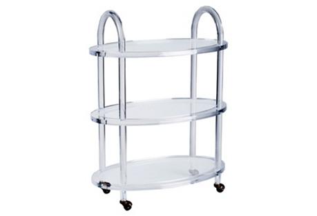 Evie Acrylic Bar Cart, Clear