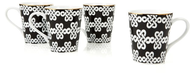 S/4 Knot-Pattern Coffee Mugs