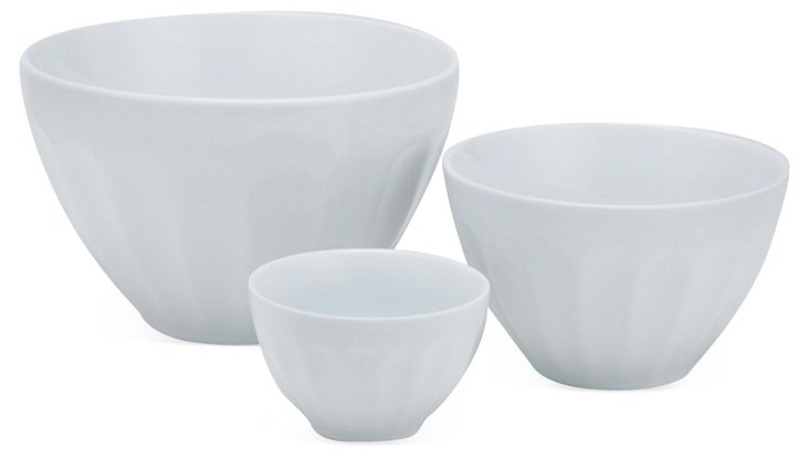 S/3 Assorted Porcelain Mixing Bowls