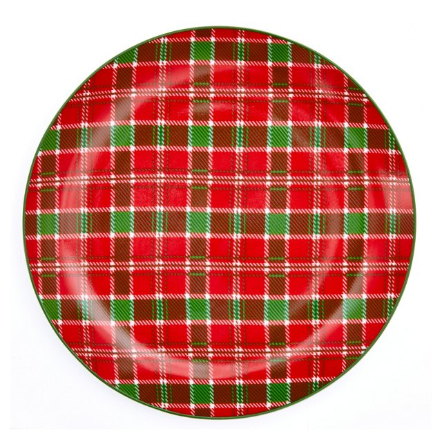 S/4 Plaid Dessert Plates, Red/Green