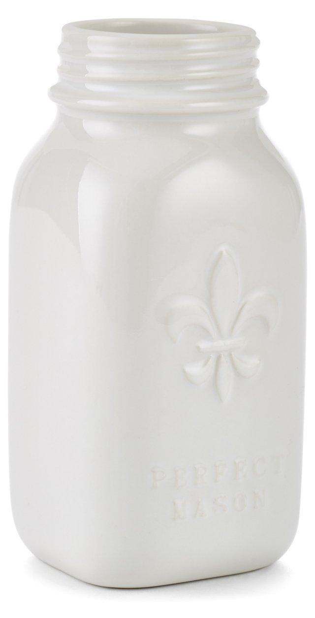S/2 Fleur-de-Lis Mason Jars, Cream