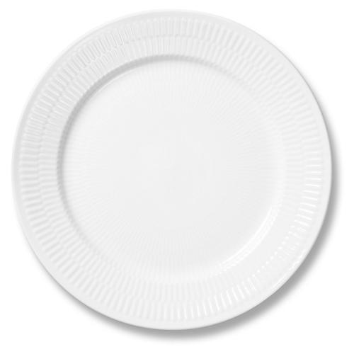 """White Fluted Dinner Plate, 10.75"""""""