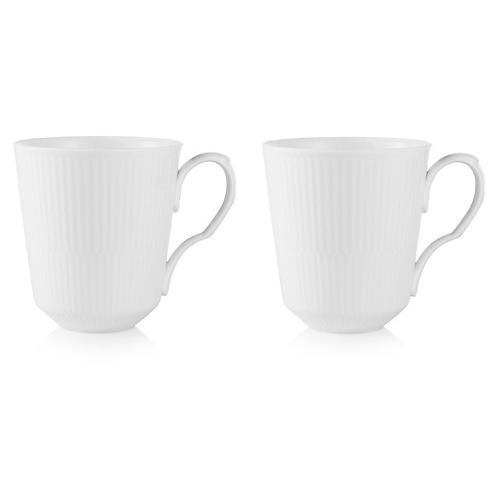 S/2 White Fluted Mugs, 11 Oz