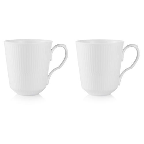 S/2 White Fluted Mugs, 11 Oz