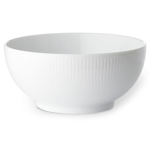 Fluted Bowl, White
