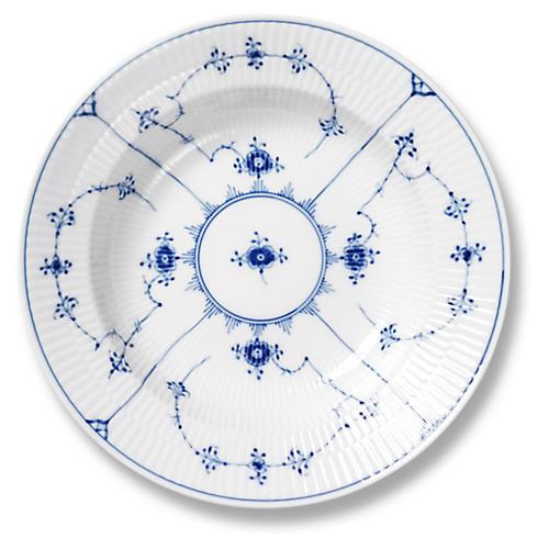 """Blue Plain Rimmed Soup Bowl, 9"""""""