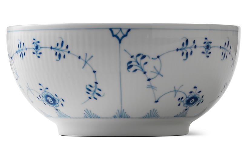 Fluted Plain Bowl, Blue/White