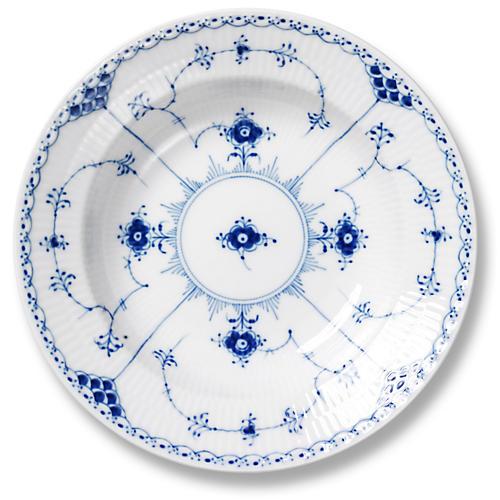 """Blue Half Lace Rimmed Soup Bowl, 8.25"""""""