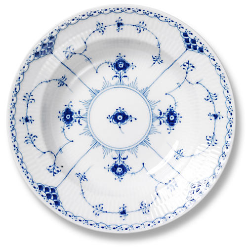Blue Half Lace Rimmed Soup Bowl, 8.25""