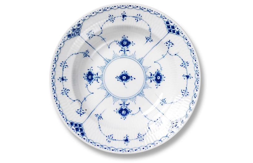 Blue Half Lace Rimmed Soup Bowl, 8.25
