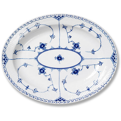 Half Lace Oval Platter, Blue