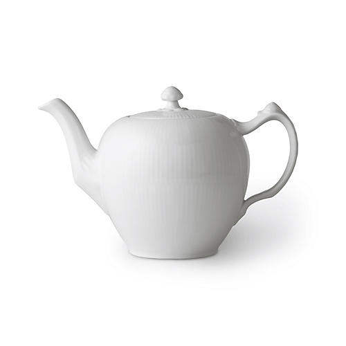 White Fluted Teapot