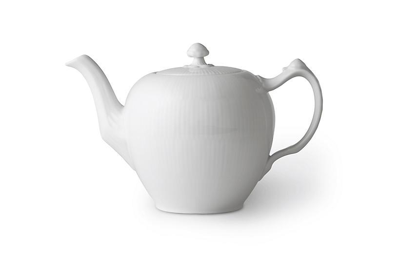 White Fluted Teapot