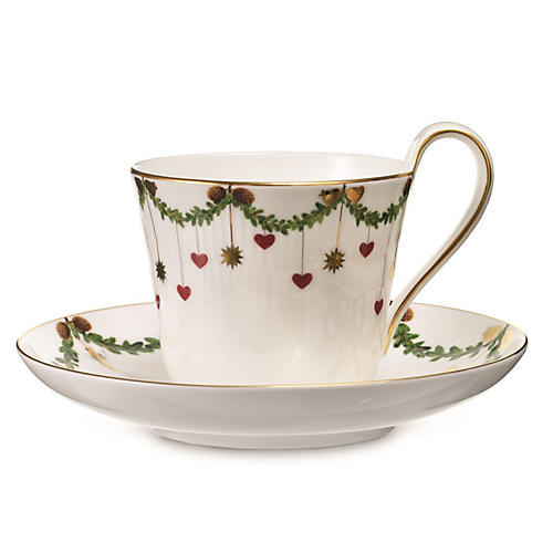 Star Fluted High Handle Cup & Saucer