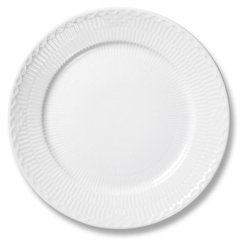 """White Half Lace Dinner Plate, 10.75"""""""