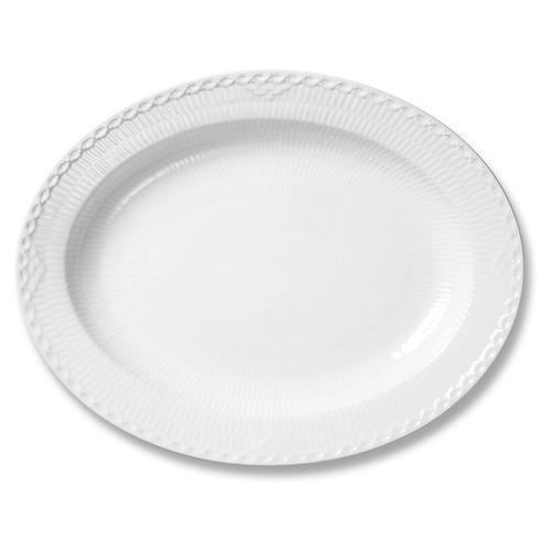 White Half Lace Oval Platter, Large