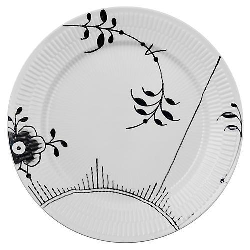 Fluted Mega II Dinner Plate, White/Black