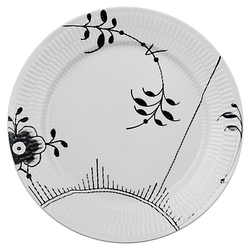 Fluted Mega II Dinner Plate, White/Black