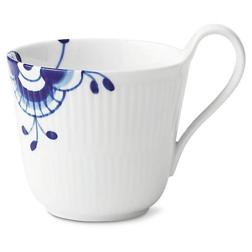 Fluted Mega Coffee Mug, White/Blue