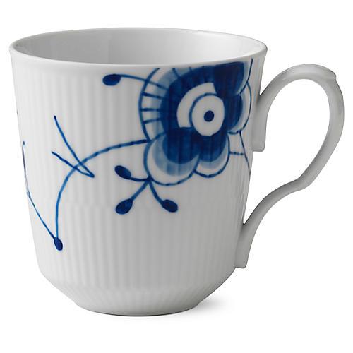 Fluted Mega Coffee Mug, Blue/White