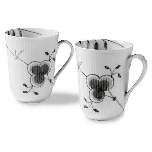 S/2 Fluted Mega Coffee Mugs, Black/White