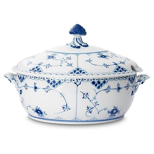 Half-Lace Covered Tureen, Blue/White