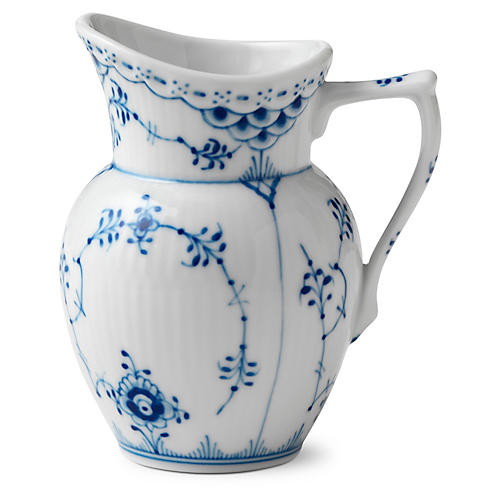 Half-Lace Fluted Creamer, Blue/White